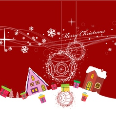 Merry christmas with ball and gift background vector