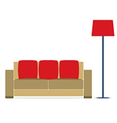 Sofa with modern lamp on white background vector