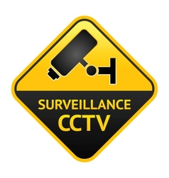 Cctv sign video surveillance label vector