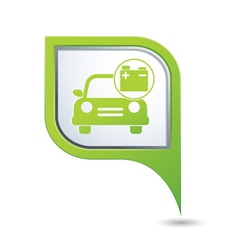 Car with accumulator icon on green pointer vector