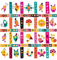Cute characters birds snails nature pattern vector