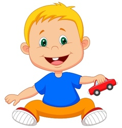 Cartoon baby playing car toy vector