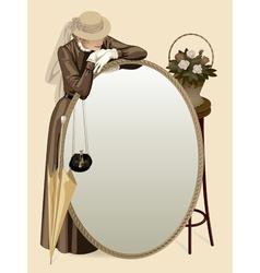 Retro woman with a mirror vector