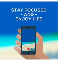 Summertime concept smartphone make picture of vector