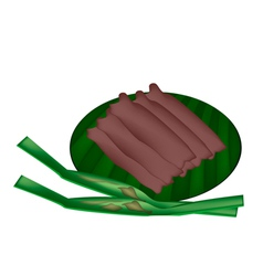 Thai sweetmeat made of flour coconut and sugar vector