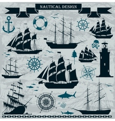 Set of sailing ships with nautical design elements vector