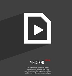 Play icon symbol flat modern web design with long vector
