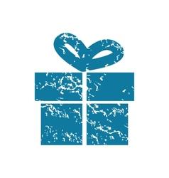 Grunge gift box icon vector