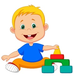 Cartoon baby is playing with educational toys vector
