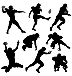 Silhouettes american football players vector