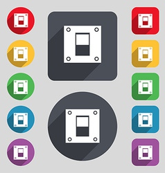Power switch icon sign a set of 12 colored buttons vector