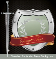 Shield on perforated metal background vector