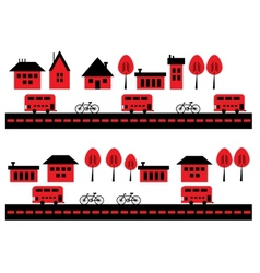 Houses bicycles and buses vector