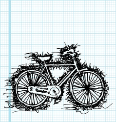 Sketch drawing of bicycle on graph paper vector