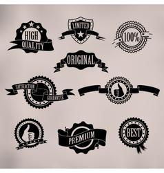 Black badges and ribbons vector