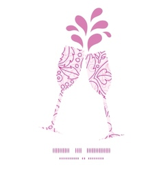 Pink flowers lineart toasting wine glasses vector