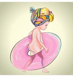 Little girl with pink swim ring vector
