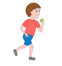 Boy walking and eating an apple vector