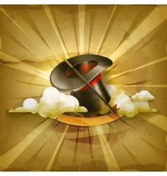Magic cylinder hat old style background vector