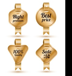 Set of gold banner with ribbon labels tags retro vector