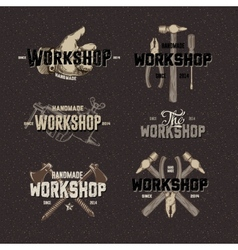 Vintage workshop conceptual labels vector