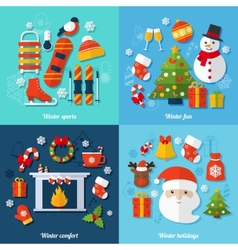 Winter flat set vector