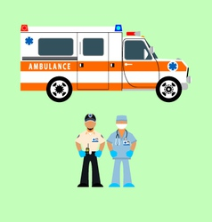 Ambulance and medical team vector