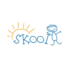 Text school and doodle kid vector