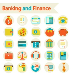 Banking and finance set icons vector