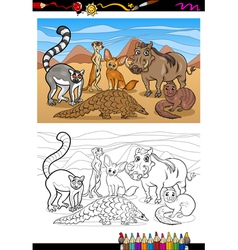 African mammals cartoon coloring book vector