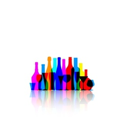 Colorful bottles and glasses vector
