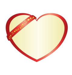 Red heart with ribbon vector