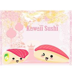 Cute sushi cartoon - card vector
