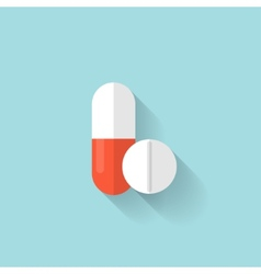 Flat medical pills icon tablets symbol health vector