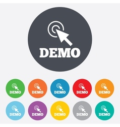 Demo with cursor sign icon demonstration symbol vector