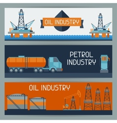 Industrial banners design with oil and petrol vector