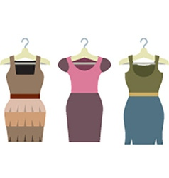 Set of women clothes with hangers vector