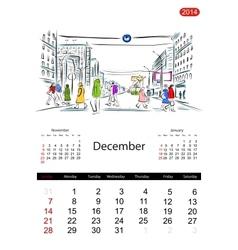Calendar 2014 december streets of the city sketch vector