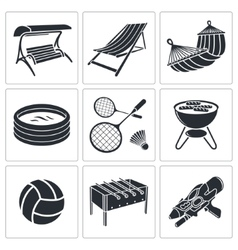 Recreation icon collection vector