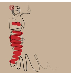 Fashion woman in stylish long red dress vector