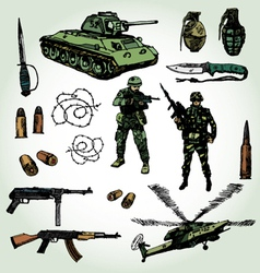 Military doodles colorful vector