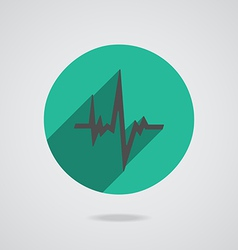 Pulse heart rate black icon in flat style vector