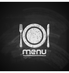 Vintage chalkboard menu design with plate fork and vector