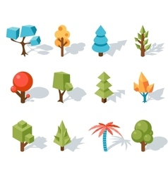Tree low poly icons isometric 3d vector