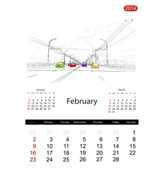 Calendar 2014 february streets of the city sketch vector