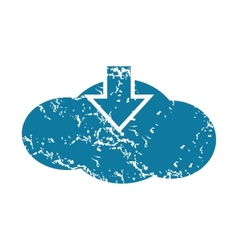 Grunge cloud download icon vector