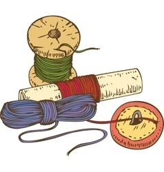 Three color spools of thread and button vector