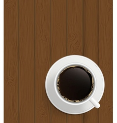 Cup of cofee on boards background vector