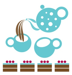 Tea party with chocolate cakes vector
