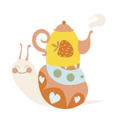 Cute cartoon snail with tea pot vector